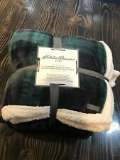 Eddie Bauer Green Plaid Ultra Soft Sherpa Throw Blanket King 90� x 108� Plush