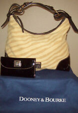 Dooney & Bourke Nikki Large Zebra Print & Patent Leather Trim Purse Wallet Set