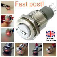 12V 16mm Car LED Light Momentary Horn Button Metal Switch Push Button red P8I5