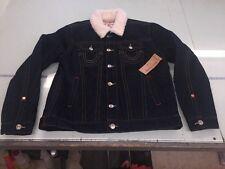 NWT Men's True Religion Denim Trucker Jacket Natural Sherpa-Body Rinse 3XL $359