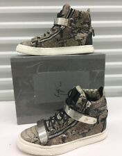 $900 Giuseppe Zanotti High Top Shoes Snake Patent Python Metal Mens Us 10/ EU 43
