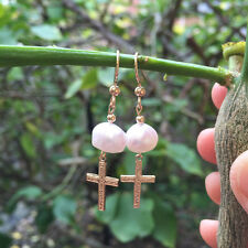 Original Baroque freshwater pearl 14K Gold Filled Hammered Cross Drop Earrings