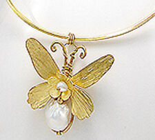 Bright Yellow 18k Gold Plated Over Brass Pearl Butterfly Choker Necklace