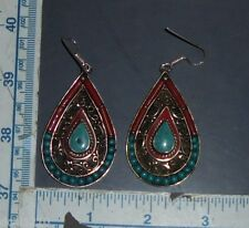Handmade Tibetan Silver Turquoise & Red Coral Earrings