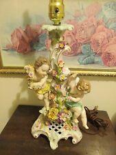 Antique 19th Century Dresden Porcelain Germany Lamp Putti Cherub Flowers
