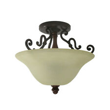 Antique Bronze And Finished Wood Accent Semi Flush Ceiling Light Orig $200