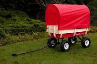 Pull along wagon cart Retro flyer + cover + chair festival red trailer kart