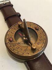 Navitron Steampunk Wrist Watch, Brass Sundial Compass and Genuine Leather Strap