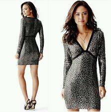 NWT Guess Long-Sleeve Animal-Print Sequin Stretch woven Lined Dress size 6