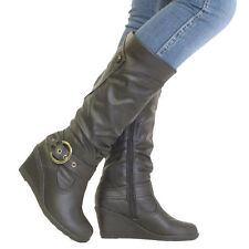 Zip Wedge Knee High Boots 100% Leather Upper Shoes for Women