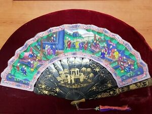 👍 19TH CENTURY CHINA CHINESE IMPERIAL QING HUNDRED FACES FAN 出洋古董扇