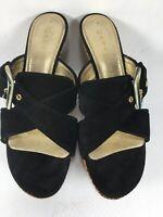 VTG Designer CASADEI Black Genuine Suede Nat Cork & Leather Platform Sandal Sz 9