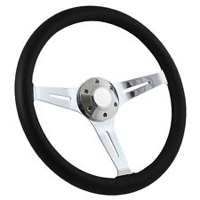 Black Leather 380mm Steering Wheel with Chrome Spokes and Horn Button