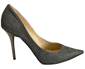 Designer Jimmy Choo Anthracite Lame Glitter Heels Party Shoes  + Box EU 38 UK 5