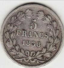 LOUIS PHILIPPE 5 FRANCS ARGENT 1838 A TTB _   b2 t7
