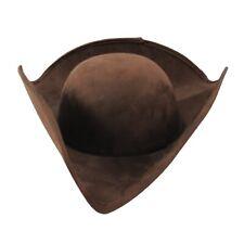 Brown Colonial Tricorn Men Hat Revolutionary War Reenactor Cap Costume Accessory
