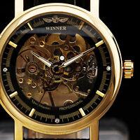 Winner Golden Dial Skeleton Analog Hand Wind Mechanical Black Leather Mens Watch