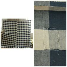 Antique French Vichy check fabric Bed curtain drape BLUE buffalo 1800's vintage