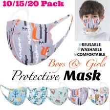 5/10/15/20PCS Boys Girls Mix Color Cloth Face Mask Kids Mask Reusable Washable