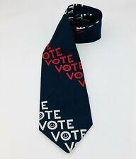 Vtg VOTE Necktie Regal Designer Collection Red White Blue Polyester Smiley Face