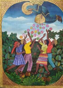 30 X 24 ORIGINAL PAINTING-ART BY SAINCILUS ISMAEL-HAITI -HAITIAN