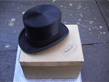 Dunn & Co Soie Noire Top Hat Sz 7 1/4 Très Bon + carte originale Boîte...