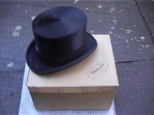 Dunn & Co Black Silk Top Hat Sz 7¼ Very Good + Original Card Box