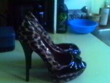 BLACK Patent LEOPARD SATIN  Peep Toe Platform Stiletto Heel #Layers-06 SEXY 7 M
