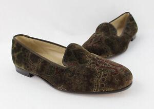 Stubbs & Wootton Men's Green Red Paisley Print Velvet Slip On Loafer Shoe Sz 10