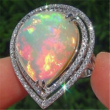 Women 925 Sliver Ring Drop Pear Cut White Fire Opal Engagement Wedding Size 6-10