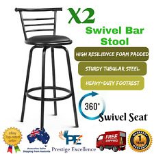 Set of 2 Swivel Bar Stool PU Leather Kitchen Chair with Padded Seat Black Stools