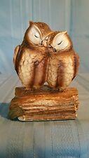 Gorham Ceramic Bisque Music Box Two Loving Brown Owls
