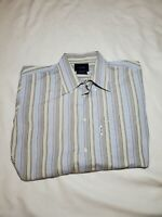 Faconnable Trend Stripe Button up dress Shirt size LARGE white blue brown