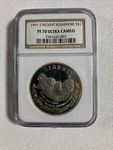 1991-S Mount Rushmore 50th Anniversary Dollar- NGC PF70 Ultra Cameo