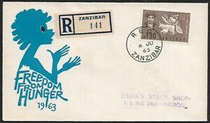 Zanzibar 1963 FFH Freedom From Hunger registered FDC to Nairobi UNKNOWN INK MARK