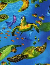 2 Yards Realistic Sea Llife Turtles Timeless Treasures Fabric #6299