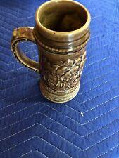 "Tan Brown Pat Appl'd For Ceramic Beer Stein with ""Bell"" In Bottom German 8.25"""