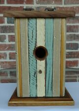 Recycled Old Growth Wood Bluebird Collectible Birdhouse w/ Hinged/Slanted Roof
