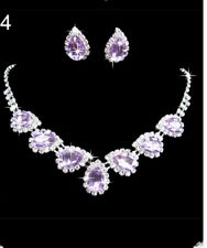 Purple Crystal Necklaces  Earring set wedding bridesmaid prom birthday Christmas