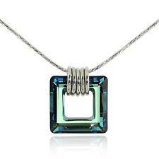 Original SWAROVSKI ELEMENTS Square Crystal Pendant Sterling Silver Necklace Y631