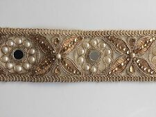 ATTRACTIVE INDIAN ROSEGOLD LACE TRIM WITH CRYSTALS,PEARLS & MIRROR-SOLD by METRE