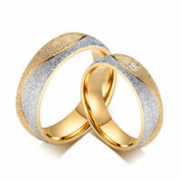 Men/Women Blasted 18K Gold Plated Stainless Steel CZ Couple Wedding Ring Sz5-13