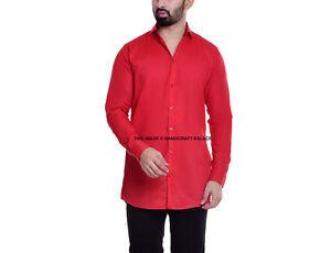 Men's Long Sleeve Casual Red Shirt Indian Cotton Business Formal Plain Shirts