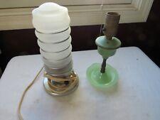 Antique Art deco Jade jadeite Small Lamp + Frosted Pillar Light