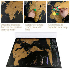 HT Deluxe travel Edition Scratch Off World Map póster Customize Journal log Map