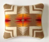 """16""""x16"""" Ivory Leather & Wool Harding Pattern Pillow Made with Pendleton® Fabric"""