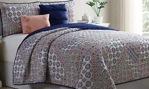 Sanctuary 5 Piece Printed Reversible Quilt Set Queen Hafia Patchwork Blue