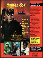 OMEGA COP__Original 1990 Trade Print AD movie promo__ADAM WEST__STUART WHITMAN