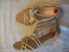 NEW BCBG BCBGeneration Vecelia Tan Zip Wedge Sandal Strappy Shoe Size 10 B 10B