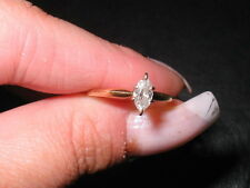 14 k YELLOW GOLD 1/3 CT .35 DIAMOND MARQUISE SOLITAIRE ENGAGEMENT RING PRE-OWNED